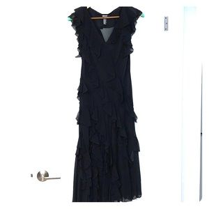 DKNY Silk Ruffle Dress w Silk Slipdress